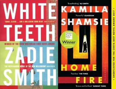 Covers of White Teeth by Zadie Smith and Home Fire by Kamila Shamsie