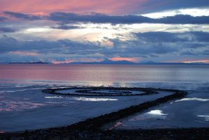 View of the Land Art piece Spiral Jetty by Robert Smithson