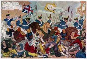 Painting depicting the cavalry charge at Peterloo
