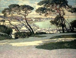 Newlyn, Penzance in the distance from Geoffrey Garnier's Garden, Alfred East, 1895