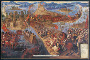 Conquista de México por Cortés, Unknown artist, second half of the 17th century