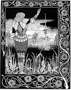 Sir Bedivere returning Excalibur to the Lady of the Lake