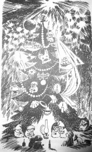 Jansson's drawing of a cosy Christmas under a big bright Christmas tree
