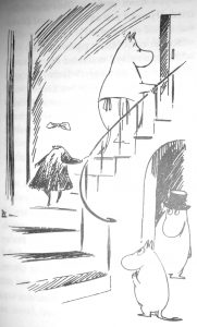 Jansson's drawing of the invisible girl climbing the stairs - you can only see her stockings, dress and the bow in her hair!