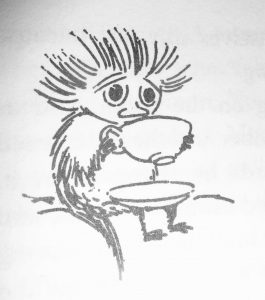 Jansson's drawing of a small Woodie 'swallow[ing] some tea the wrong way from pure shyness'.