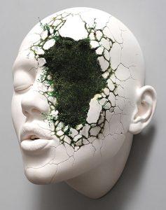 """Johnson Tsang """"Healing in Progress"""", 2019, Porcelain and Artificial grass, 28cm x 21cm x 16cm"""