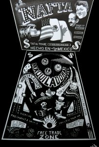 Illustration of a pinball machine in which the player is a Mexican labourer trying to achieve life over death in a game rigged by NAFTA